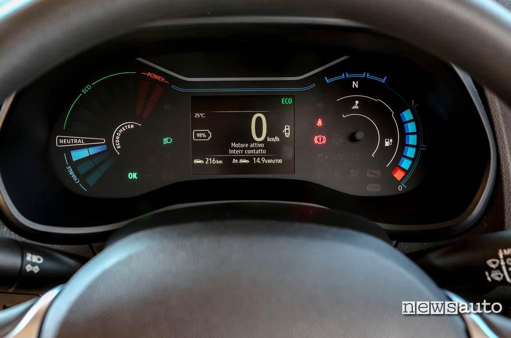 Strumentazione e consumo Dacia Spring Electric 2021