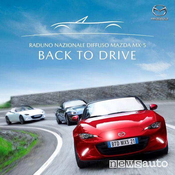 """Locandina Raduno Nazionale Diffuso """"Mazda MX-5 Back to Drive"""" 2021"""