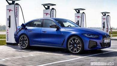 BMW i4 M50 elettrica in ricarica da un colonnina Ionity