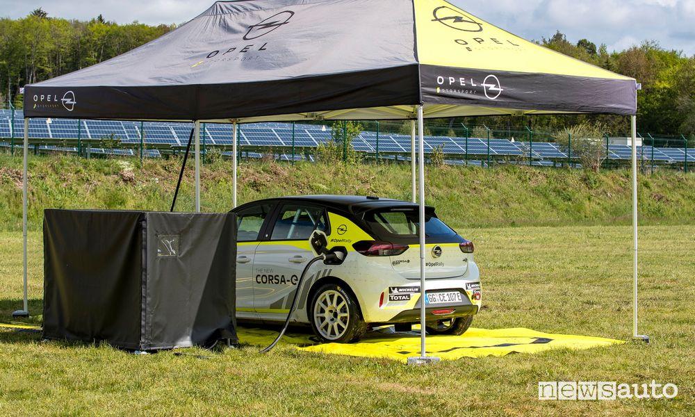 ricarica Opel Corsa-e nei rally