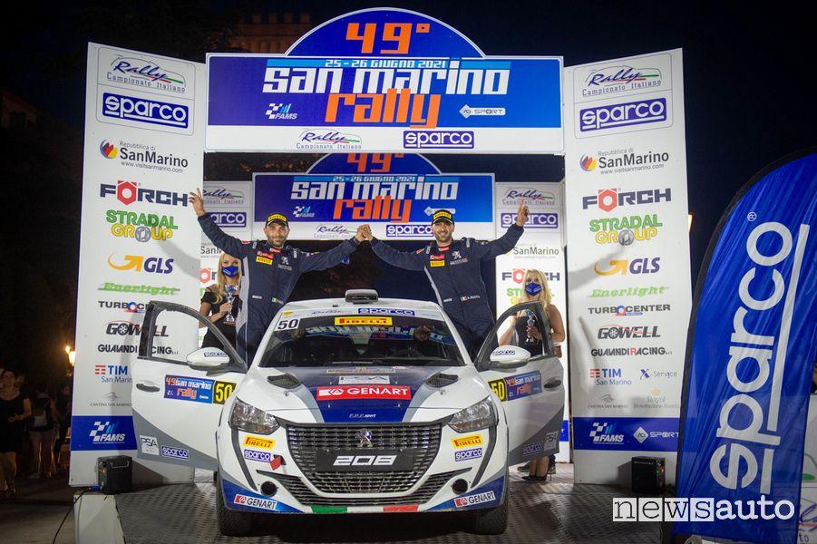 Andrea e Giuseppe Nucita festeggiano il 3° posto al Rally di San Marino con la Peugeot 208 Rally4