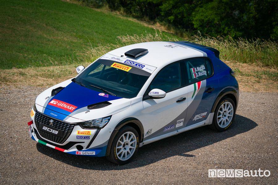Vista di profilo Peugeot 208 Rally4