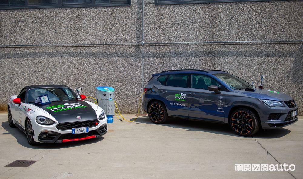 Abarth 124 Spider Ecomotori Racing Team e Cupra Ateca Snam4Mobility a metano