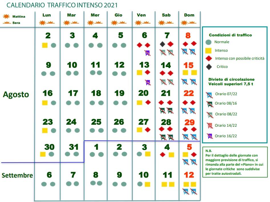 Divieti di circolazione per i mezzi pesanti agosto-settembre 2021 in Italia
