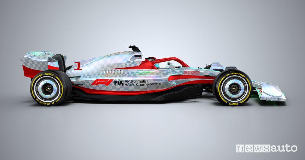 Vista laterale della nuova monoposto F1 2022