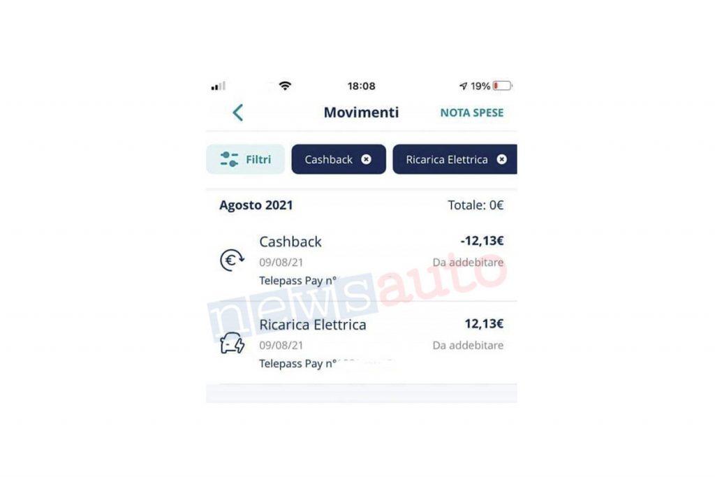 Ricarica auto elettrica gratuita con Telepass Pay, cashback in tempo reale