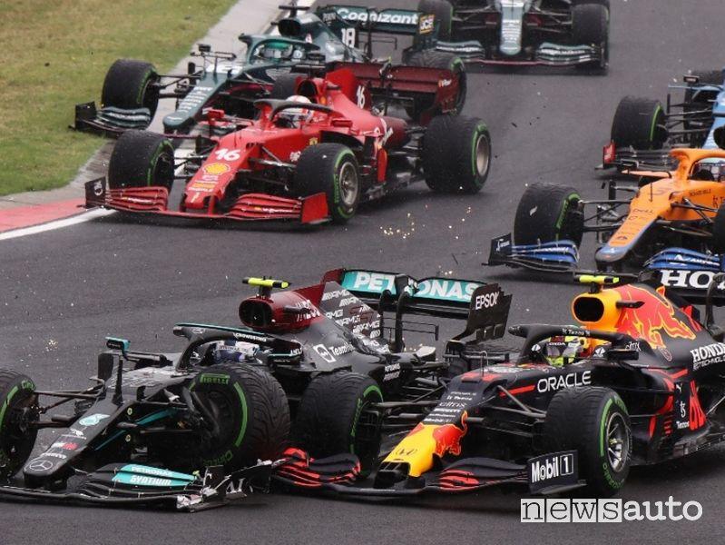 F1 Gp Ungheria 2021, incidente dopo la partenza