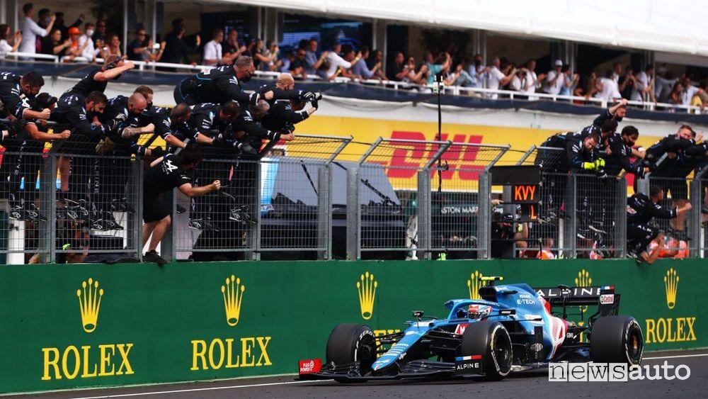 F1 Gp Ungheria 2021 prima vittoria Alpine