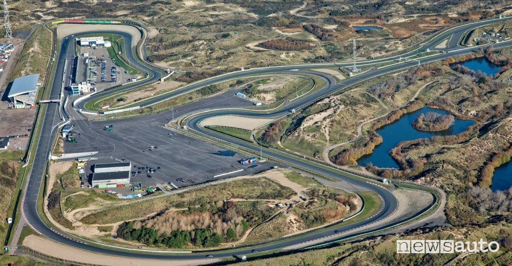 Vista dall'alto, la mappa del circuito di Zandvoort in Olanda