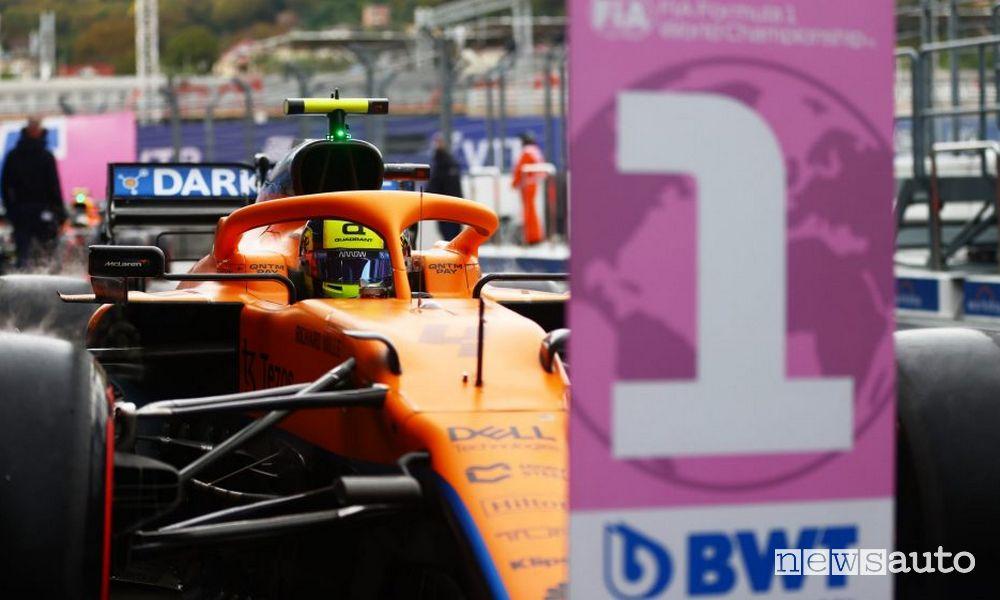 McLaren Lando Norris pole griglia di partenza Gp di Russia F1