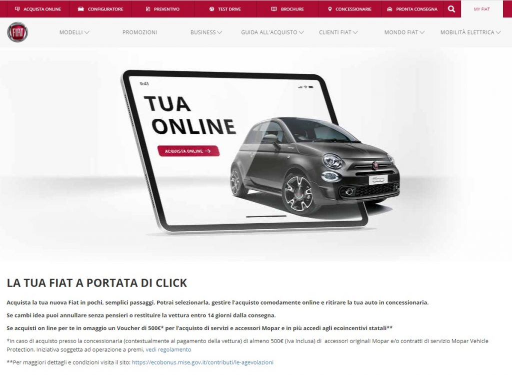 vendita auto online Fiat