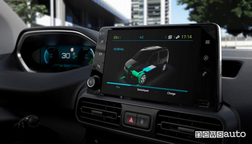 Touchscreen i-Cockpit abitacolo di ricarica Peugeot e-Partner furgone elettrico